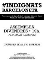 Cartell Assemblea Indignats Barceloneta